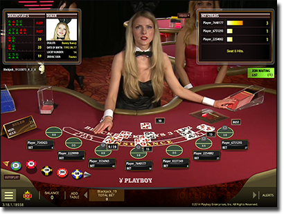 Live dealer playboy bunny blackjack by Microgaming