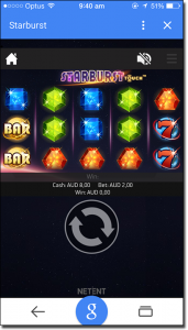 Play Starburst pokies on mobile