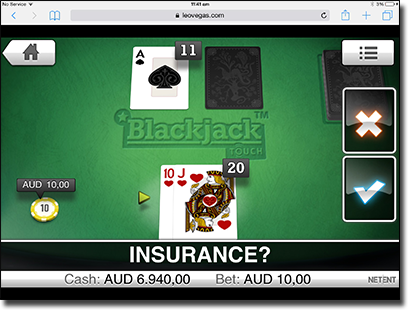Play Blackjack touch on iPad