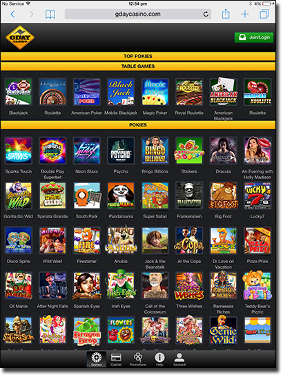 G'Day Casino - Tablet casino for Australians