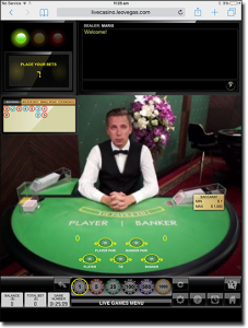 Live dealer baccarat on tablets
