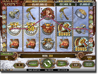 Hall of the Gods progressive jackpot slots