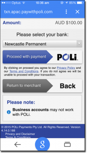 Use POLi for fund transfers on iPhone