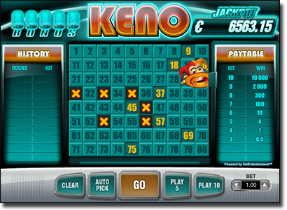 Play real money keno at the best online casinos