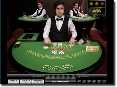 Live dealer Texas Hold'em Thrills Casino