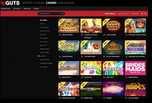 Guts Casino games catalogue