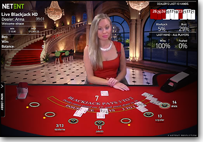 Live dealer blackjack by NetEnt