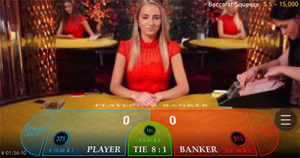 Mobile live dealer baccarat