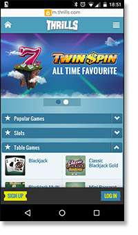 Thrills Casino - Sign up on mobile now